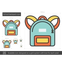 School backpack line icon vector image vector image