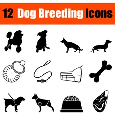 Set of dog breeding icons vector image vector image
