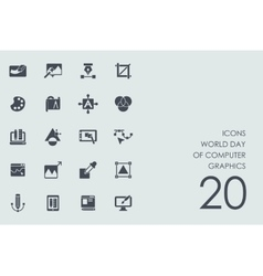 Set world day of computer graphics icons vector