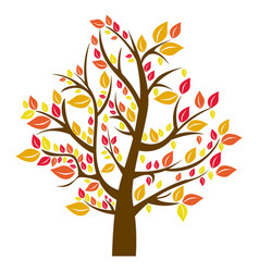 Silhouette tree in fall season vector