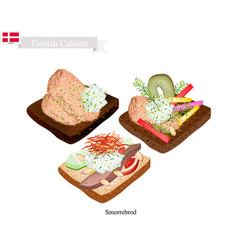 smorrebrod with roast pork the national dish of de vector image