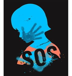 Sos violence against children vector