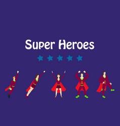 superhero actions icon set in cartoon colored vector image