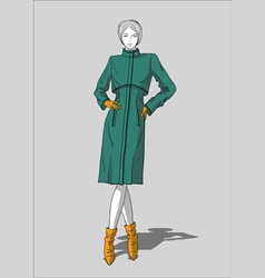 Woman in long coat and leather ankle boots vector