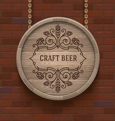 Wooden cask beer signboard vector
