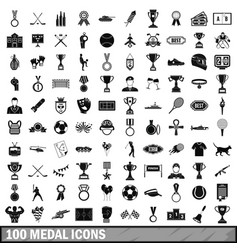 100 medal icons set simple style vector