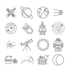 Space universe isolated icon set vector