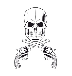 Skull gun tattoo face design vector