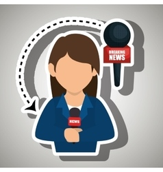 Woman journalist news microphone vector