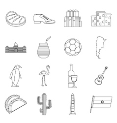 Argentina travel items icons set outline style vector image