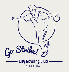 Bowling club poster on grey backdrop vector