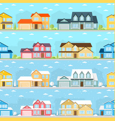 Summer and winter town vector