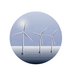 Electric wind turbines farm on sea water vector