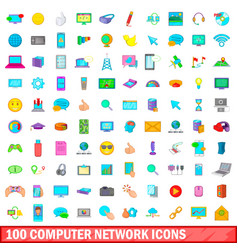 100 computer network icons set cartoon style vector