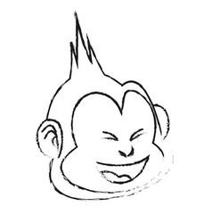 Happy smiling monkey cartoon icon image vector