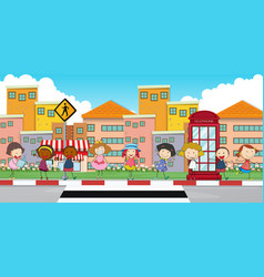 happy children standing on sidewalk vector image