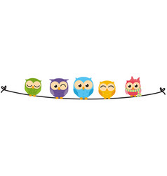 Happy owl family sit on wire vector