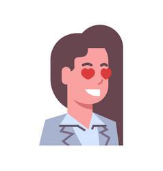 female happy smiling heart shape eyes emotion icon vector image