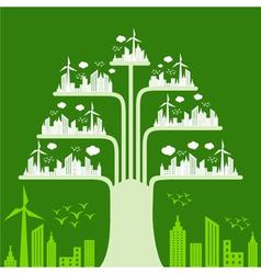 Eco cityscape make a tree vector