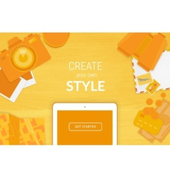 Creative background in orange style vector