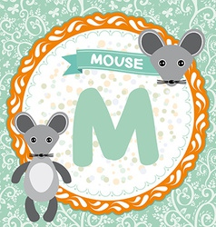 Abc animals m is mouse childrens english alphabet vector