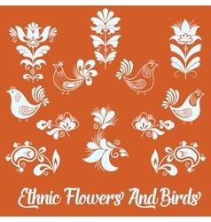 Set of floral elements and birds hand vector
