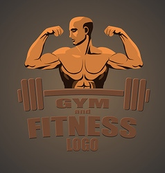 Fitness gym logo mockup bodybuilder showing biceps vector