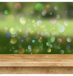 Empty table of wooden planks on summer background vector
