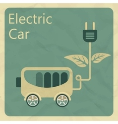 Electric car flat retro style concept vector