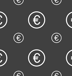 Euro icon sign seamless pattern on a gray vector