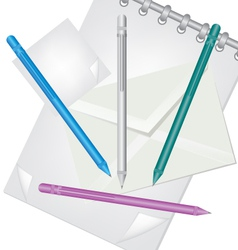 Pencil envelope and notebook vector