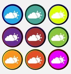 Weather icon sign nine multi colored round buttons vector