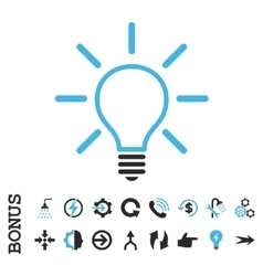 Light bulb flat icon with bonus vector