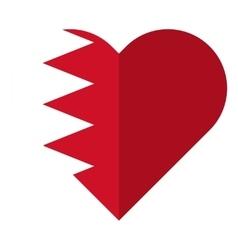 Bahrain flat heart flag vector image