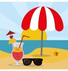 Beach sea sand glasses and cocktail summer vector
