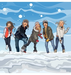 Cartoon guys and girls playing snowballs in winter vector