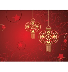 Chinese Lantern with Flowers vector image
