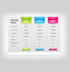 Colorful comparison pricing table template vector