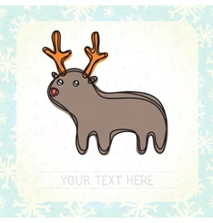 Cute deer and snowflakes vector image