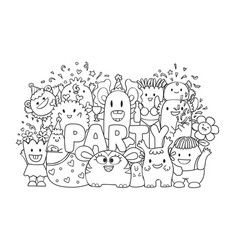Cute monster in party vector