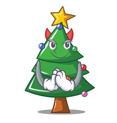 Devil christmas tree character cartoon vector