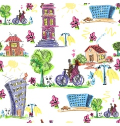 Doodle city colored seamless pattern vector image vector image