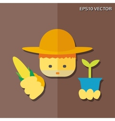 Farmer flat icon vector