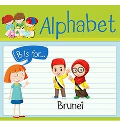 Flashcard alphabet b is for brunei vector