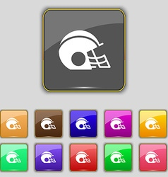 Football helmet icon sign set with eleven colored vector