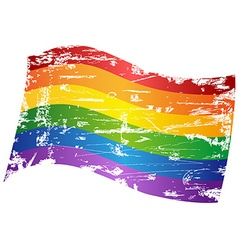 grungy Rainbow Gay Pride Flag vector image