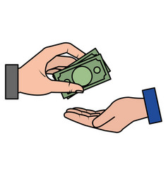 hands human with bills money isolated icon vector image