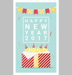 Happy new year 2017 card with chicken 5 vector