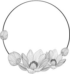 line art lotus flowers in round frame for text vector image vector image