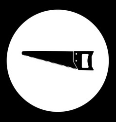One black wood saw hand tools simple isolated icon vector